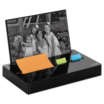 "Post-it Pop-up Notes Super Sticky Pop-up Note/Flag Dispenser Plus Photo Frame with 3 x 3 Pad, 50 1"" Flags, Black (PH-100-BK)"