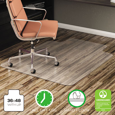 deflecto EconoMat All Day Use Chair Mat for Hard Floors, 36 x 48, Lipped, Clear (CM21112)