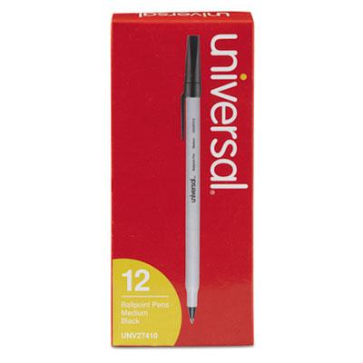 Universal Stick Ballpoint Pen, Medium 1mm, Black Ink, Gray Barrel, Dozen (UNV27410)