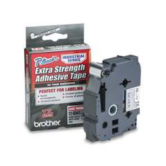 """Brother TZ Extra-Strength Adhesive Laminated Labeling Tape, 0.7"""" x 26.2 ft, Black on Matte Silver (TZES941)"""