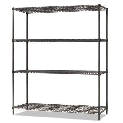 Alera All-Purpose Wire Shelving Starter Kit, 4-Shelf, 60 x 18 x 72, Black Anthracite Plus (ALESW206018BA)
