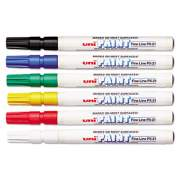uni Paint Permanent Marker, Fine Bullet Tip, Assorted Colors, 6/Set (63720)