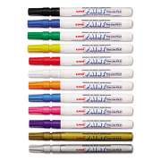 uni Paint Permanent Marker, Fine Bullet Tip, Assorted Colors, 12/Set (63721)