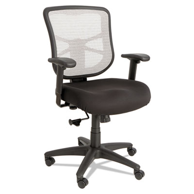 Alera Elusion Series Mesh Mid-Back Swivel/Tilt Chair, Supports up to 275 lbs., Black Seat/White Back, Black Base (ALEEL42B04)
