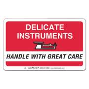 LabelMaster SHIPPING AND HANDLING SELF-ADHESIVE LABELS, DELICATE INSTRUMENTS, HANDLE WITH CARE, 2.25 X 4, RED/WHITE, 500/ROLL (L86)