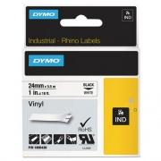 "DYMO Rhino Permanent Vinyl Industrial Label Tape, 1"" x 18 ft, White/Black Print (1805430)"