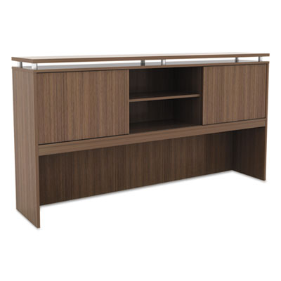 Alera Sedina Series Hutch with Sliding Doors, 72w x 15d x 42.5h, Modern Walnut (ALESE267215WA)