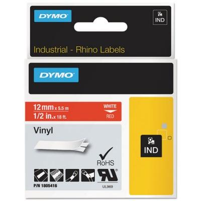 "DYMO Rhino Permanent Vinyl Industrial Label Tape, 0.5"" x 18 ft, Red/White Print (1805416)"