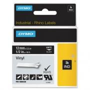 "DYMO Rhino Permanent Vinyl Industrial Label Tape, 0.5"" x 18 ft, Black/White Print (1805435)"