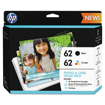 HP 62 Photo and Card Value Pack-30 sht/4 x 6 in and 15 sht/5 x 7 in (K3W67AN#140)