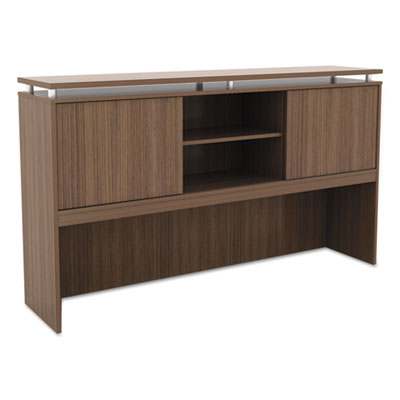 Alera Sedina Series Hutch with Sliding Doors, 66w x 15d x 42.5h, Modern Walnut (ALESE266615WA)