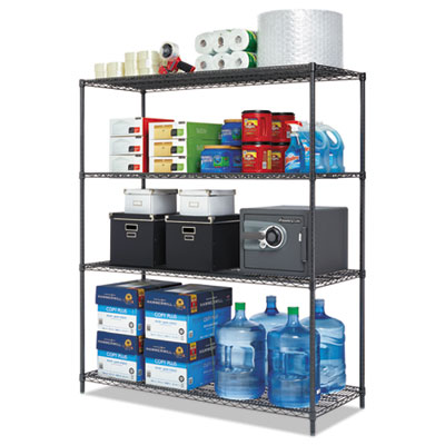 Alera All-Purpose Wire Shelving Starter Kit, 4-Shelf, 60 x 24 x 72, Black Anthracite Plus (ALESW206024BA)