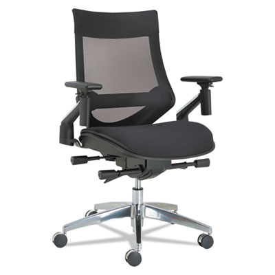Alera EB-W Series Pivot Arm Multifunction Mesh Chair, Supports up to 275 lbs., Black Seat/Black Back, Aluminum Base (ALEEBW4213)