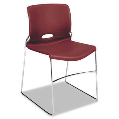 HON Olson Stacker High Density Chair, Mulberry Seat/Mulberry Back, Chrome Base, 4/Carton (H4041.MB.Y)