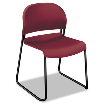 HON GuestStacker High Density Chairs, Mulberry Seat/Mulberry Back, Black Base, 4/Carton (H4031.MB.T)