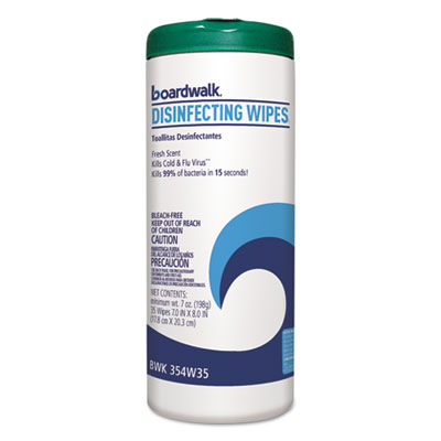 Boardwalk Disinfecting Wipes, 8 x 7, Fresh Scent, 35/Canister, 12 Canisters/Carton (454W35)