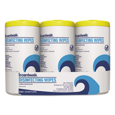 Boardwalk Disinfecting Wipes, 8 x 7, Lemon Scent, 75/Canister, 3 Canisters/Pack (455W753PK)