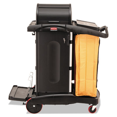Rubbermaid Commercial High-Security Healthcare Cleaning Cart, 22w x 48.25d x 53.5h, Black (FG9T7500BLA)