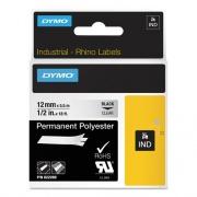 "DYMO Rhino Permanent Vinyl Industrial Label Tape, 0.5"" x 18 ft, Clear/Black Print (622289)"