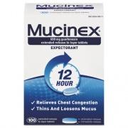 Mucinex Expectorant Regular Strength, 100 Tablets/Box, 12 Box/Carton (00815)