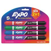 EXPO 2-in-1 Dry Erase Markers, Broad/Fine Chisel Tip, Assorted Colors, 4/Pack (1944655)