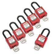 AbilityOne 5340016502636, Lockout Tagout Padlocks, 1 Set of 6 Keyed Alike