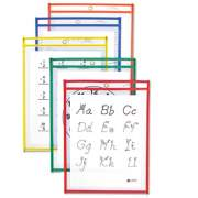 C-Line Reusable Dry Erase Pockets, 9 x 12, Assorted Primary Colors, 10/Pack (40610)