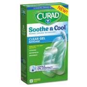 Curad Soothe and Cool Clear Gel Bandages, Assorted, Clear, 8/Box (CUR5236)