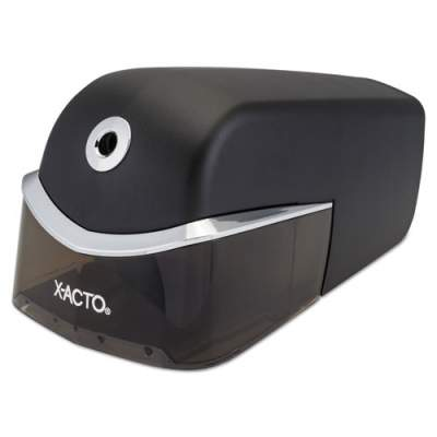 """X-ACTO Quiet Electric Office Pencil Sharpener, AC-Powered, 5.25"""" x 4.97"""" x 8.5"""", Black/Silver (1750LMR)"""