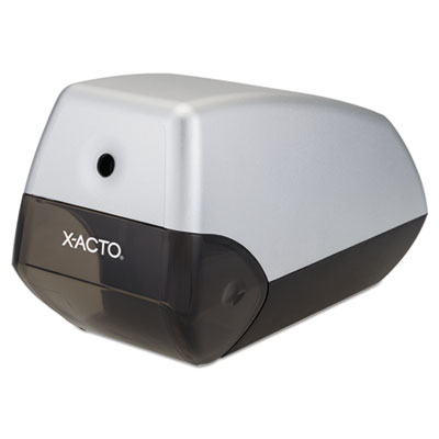 """X-ACTO Helix Office Electric Pencil Sharpener, AC-Powered, 3"""" x 6.5"""" x 4.5"""", Silver/Black (1900LMR)"""