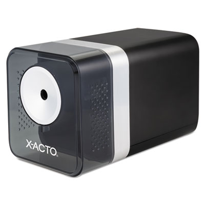 """X-ACTO Power3 Office Electric Pencil Sharpener, AC-Powered, 3.5"""" x 8.5"""" x 4"""", Black (1744LMR)"""