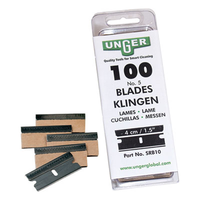 Unger Safety Scraper Replacement Blades, #9, Stainless Steel, 100/Box (SRB30)
