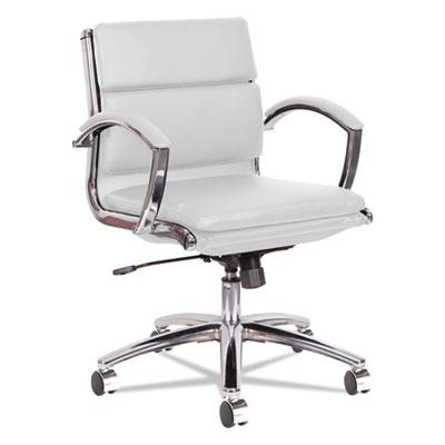 Alera Neratoli Low-Back Slim Profile Chair, Supports up to 275 lbs., White Seat/White Back, Chrome Base (ALENR4706)