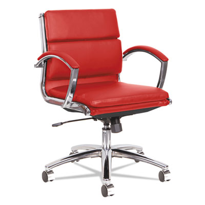 Alera Neratoli Low-Back Slim Profile Chair, Supports up to 275 lbs., Red Seat/Red Back, Chrome Base (ALENR4739)
