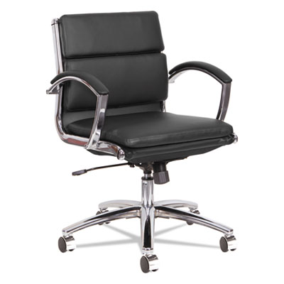 Alera Neratoli Low-Back Slim Profile Chair, Supports up to 275 lbs., Black Seat/Black Back, Chrome Base (ALENR4719)