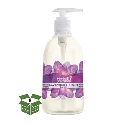 Seventh Generation Natural Hand Wash, Lavender Flower and Mint, 12 oz Pump Bottle, 8/Carton (22926CT)