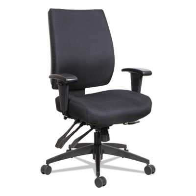 Alera Wrigley Series High Performance Mid-Back Multifunction Task Chair, Up to 275 lbs., Black Seat/Back, Black Base (ALEHPM4201)