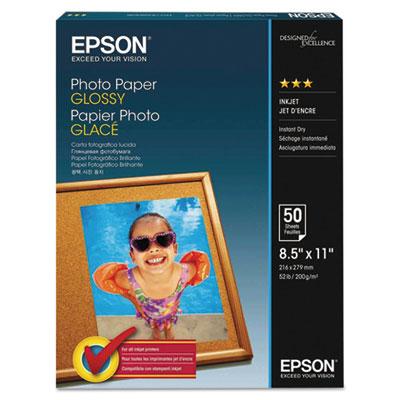 Epson Glossy Photo Paper, 8.5 x 11, Glossy White, 100/Pack (S041271)