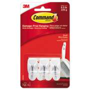 Command General Purpose Wire Hooks, Small, 0.5 lb Cap, White, 3 Hooks and 6 Strips/Pack (17067ES)
