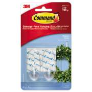 Command Clear Hooks & Strips, Plastic, Medium, 2 Hooks & 4 Strips/Pack (17091CLR-ES)