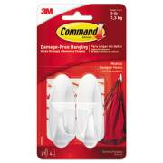 Command General Purpose Designer Hooks, Medium, 3 lb Cap, White, 2 Hooks and 4 Strips/Pack (17081ES)