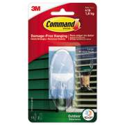 Command All Weather Hooks and Strips, Plastic, Large, 1 Hooks & 2 Strips/Pack (17093CLR-AWES)