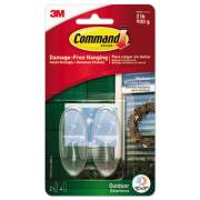 Command All Weather Hooks and Strips, Plastic, Medium, 2 Hooks & 4 Strips/Pack (17091CLR-AWES)