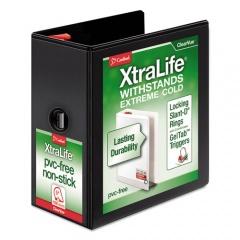 "Cardinal XtraLife ClearVue Non-Stick Locking Slant-D Ring Binder, 3 Rings, 5"" Capacity, 11 x 8.5, Black (26351)"