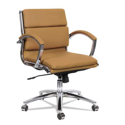 Alera Neratoli Low-Back Slim Profile Chair, Supports up to 275 lbs., Camel Seat/Camel Back, Chrome Base (ALENR4759)