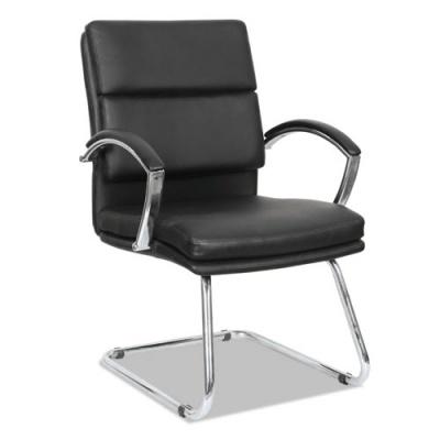 Alera Neratoli Slim Profile Guest Chair, 23.81'' x 27.16'' x 36.61'', Black Seat/Black Back, Chrome Base (ALENR4319)