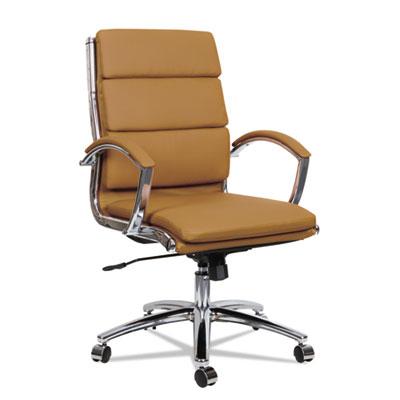 Alera Neratoli Mid-Back Slim Profile Chair, Supports up to 275 lbs., Camel Seat/Camel Back, Chrome Base (ALENR4259)