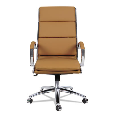 Alera Neratoli High-Back Slim Profile Chair, Supports up to 275 lbs., Camel Seat/Camel Back, Chrome Base (ALENR4159)
