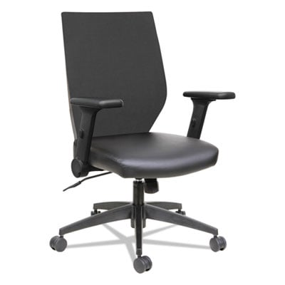 Alera EB-T Series Synchro Mid-Back Flip-Arm Chair, Supports up to 275 lbs., Black Seat/Black Back, Black Base (ALEEBT4215)