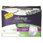Always DISCREET INCONTINENCE UNDERWEAR, SMALL/MEDIUM, MAXIMUM ABSORBENCY, 19/PACK, 3 PACKS/CARTON (92735)